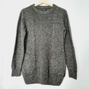 ROOTS Gray Sweater Confetti Knit Top Cotton Wool Blend Sz. XS